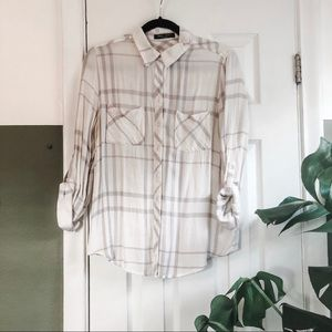 Romeo & Juliet White + Grey Checked Button Up